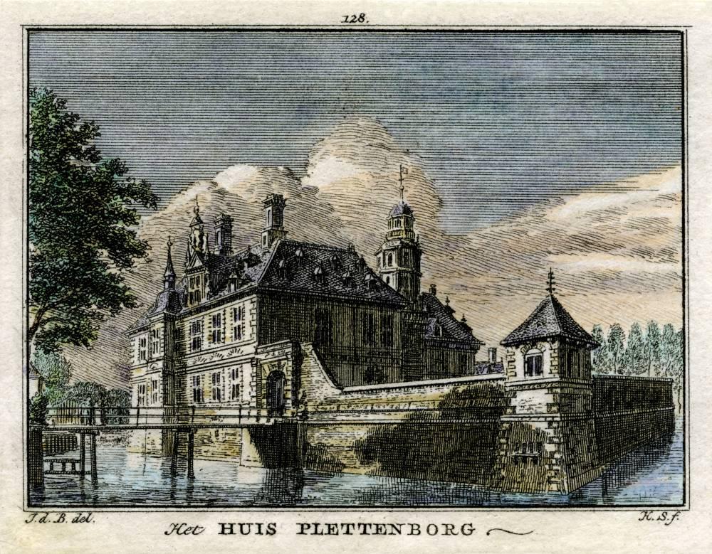 Kasteel Plettenburg in Jutphaas. Tekening Jan de Beijer, gravure Hendrik Spilman(Uit: Het Verheerlykt Nederland, Isaac Tirion, 1745/1774)